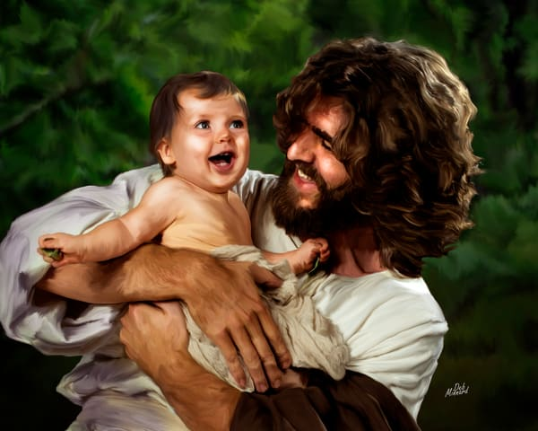 Christian art, digital painting of Joyous Jesus laughing with a baby