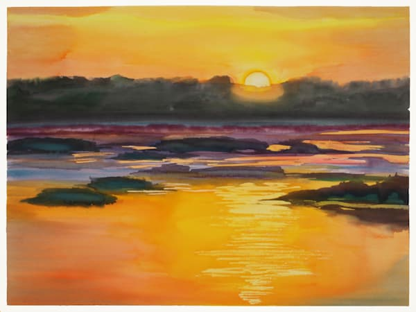 Fernandina Sunrise 1 | Watercolor Landscapes | Gordon Meggison IV