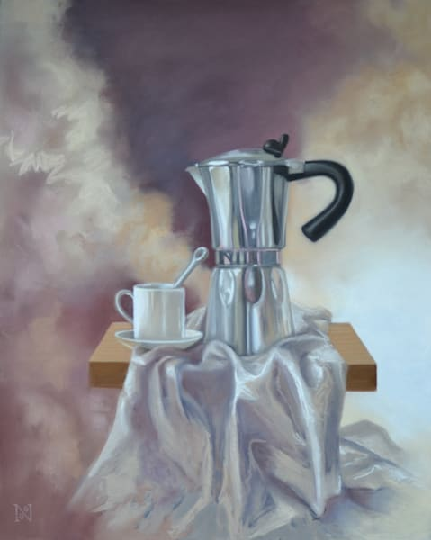 Java Rocket art, pastel painting on paper by Natalie George