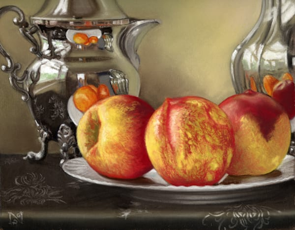 Nectarines on a Plate art, pastel painting on paper by Natalie George