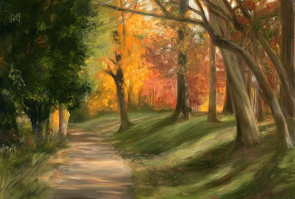 Path Behind the Library Art for Sale