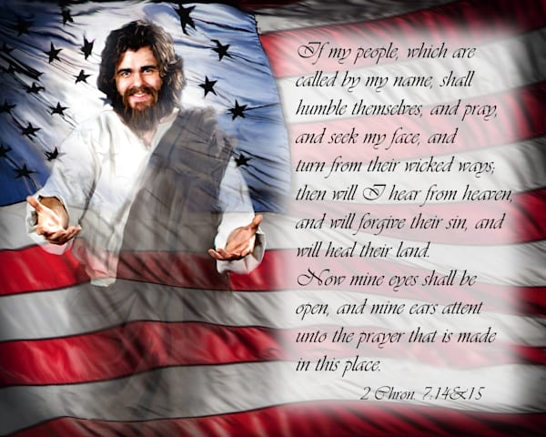 Own a Jesus painting that supports the USA with scripture.  A digital art painting by artist, Deb Minnard