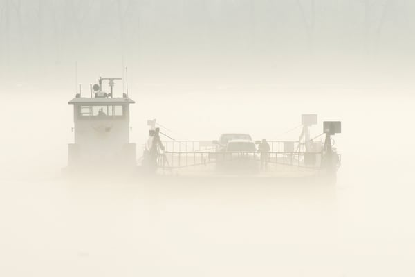 Golden Eagle Ferry on the foggy Mississippi River