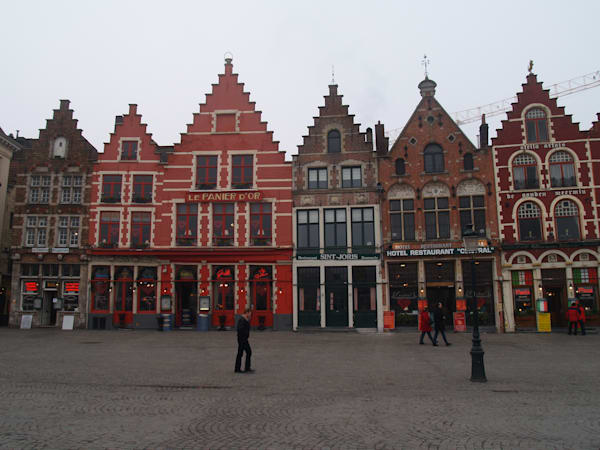 Buildings along street in Belgium