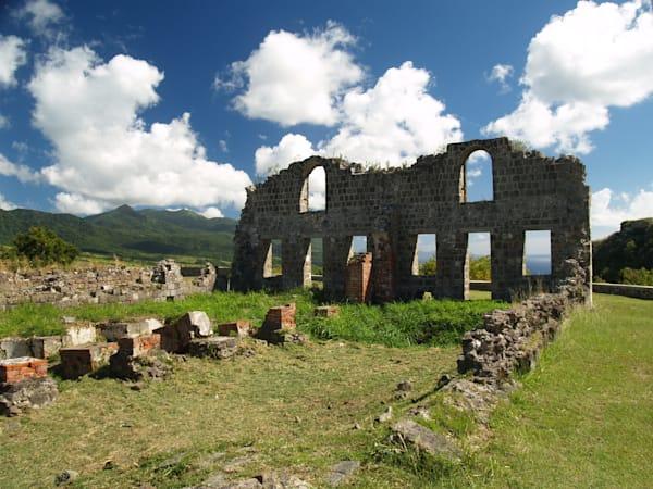 Remains of old fort on coastline of San Juan, Puerto Rico