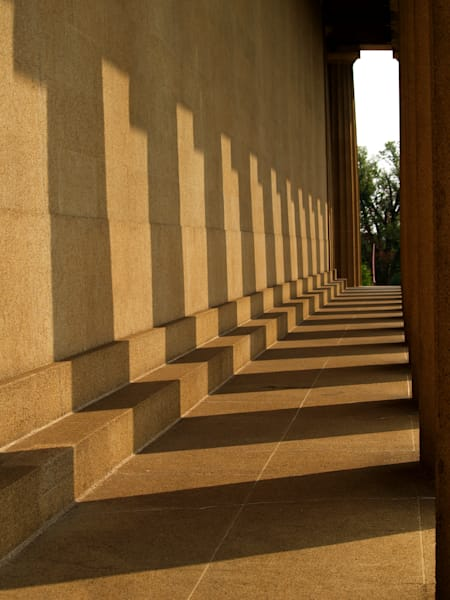 Shadows in the walkway of the duplicated Parthenon in Nashville, Tennessee