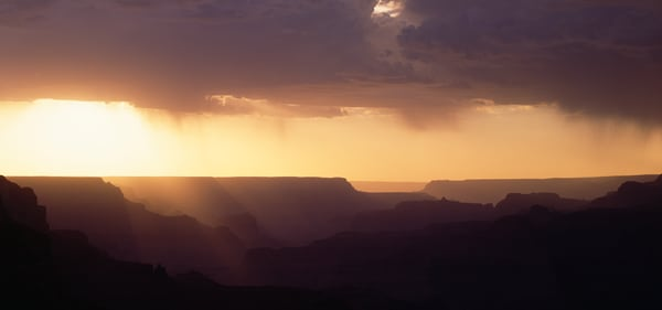 Grand Canyon, shilouetted ridges at sunset