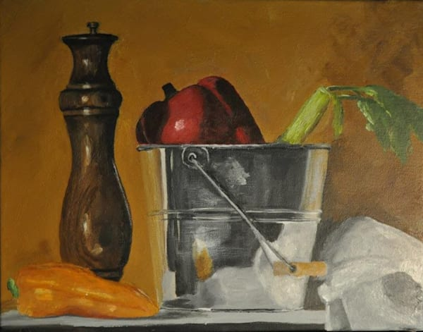 Bucket of Veges by Aisha Tomlin an American painter.