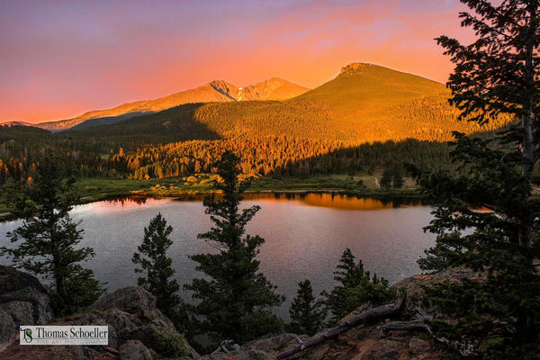 Rocky Mountain National Park fine art prints/Lily lake during a magical red dawn