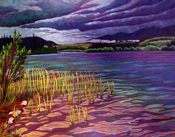Storms Coming at Boya Lake, BC. Near Watson Lake, Yukon - artist Sherry Nielsen - prints in canvas, paper, and metal.