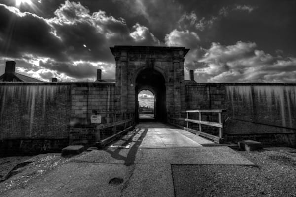 A Black and White Fine Art Photograph of Fort Washington Entrance by Michael Pucciarelli