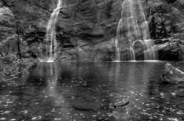 Fine Art Black and White Photographs of White Oak Canyon Falls by Michael Pucciarelli