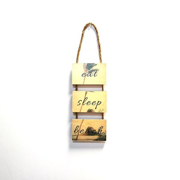 3 Tier Hanging Rope Sign  |  Eat Sleep Beach