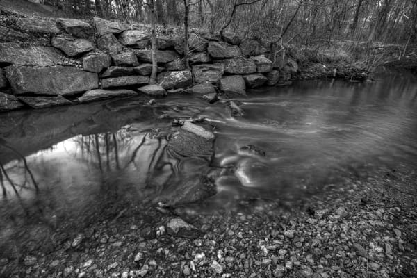 A Fine Art Black And White Photograph of Rock Creek Reflections by Michael Pucciarelli