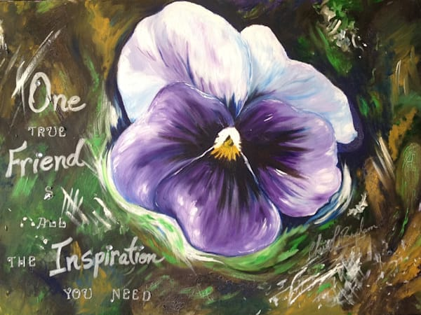 One True Friend Pansy Flower Painting - Artistic View