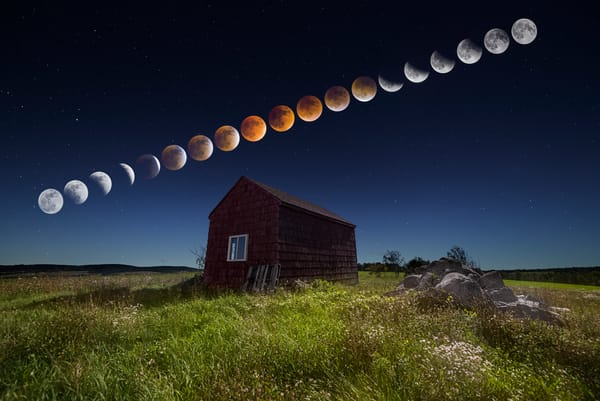 Super Blood Moon Eclipse Sequence, the progression of the event over an old red shack in Maine