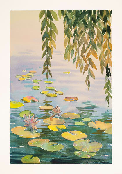 Lilies and Willow | Zen Landscapes | Gordon Meggison IV