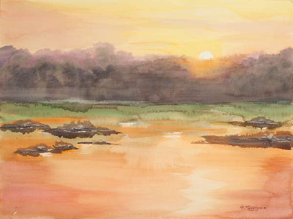 Fernandina Sunrise 4   Watercolor Landscapes   Gordon Meggison IV