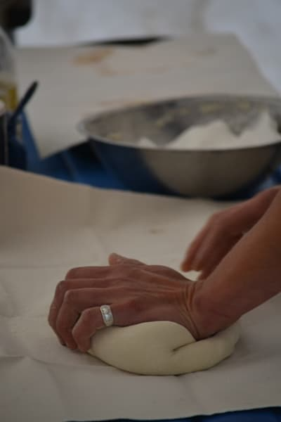 Photograph of kneading bread dough for sale as Fine Art
