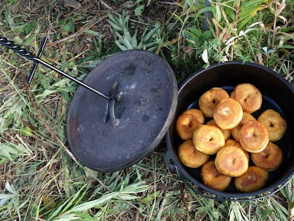 Photograph of doughnuts kept warm in a Dutch oven for sale as Fine Art
