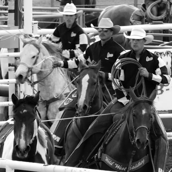 Black and White Photograph of rodeo pickup men for sale as Fine Art