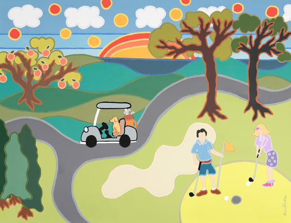 collage, art, golf