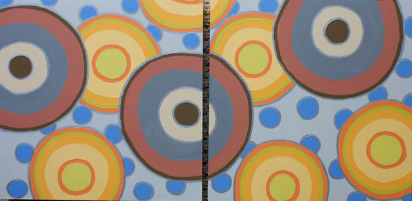 Yellow Circles, acrylic on canvas, original abstract art paintings for sale/Peachtree City, GA