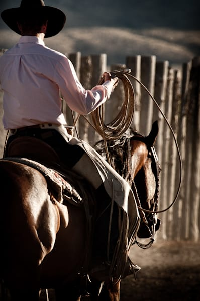Ranch hand with rope on horse