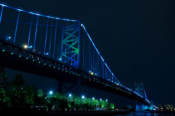 Ben Franklin Bridge Philly Limited Edition Signed Fine Art Night Urban Landscape Photograph by Melissa Fague