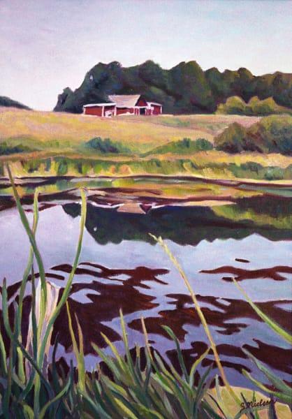 Elnora Alberta pond - original painting - prints by Sherry Nielsen