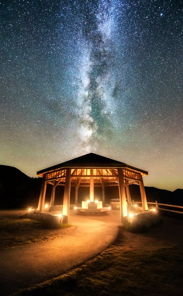 Ritual, a Candlelit Gazebo under the Milky Way