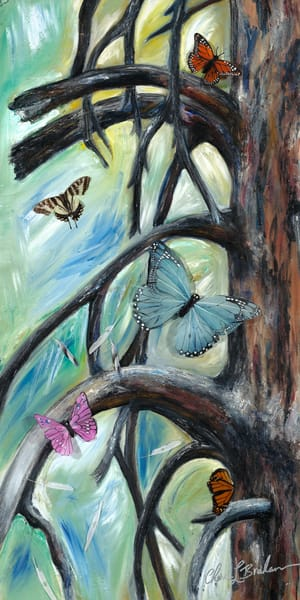 Butterflies in an Oak Tree Painting - Artistic View