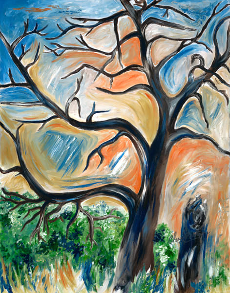 Abstract Fall Painting, Oak Tree in a meadow - Artistic View