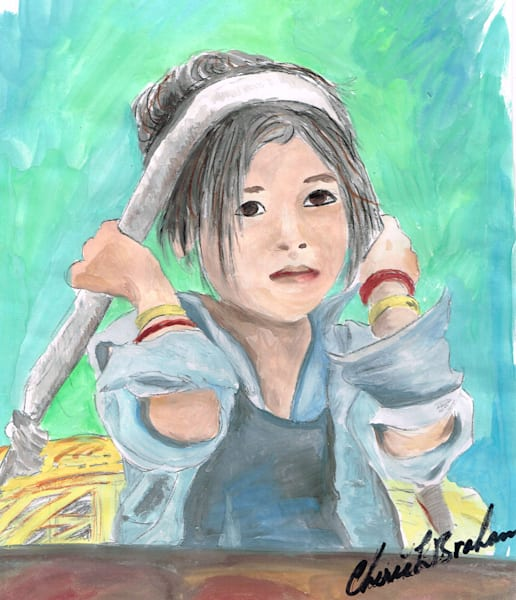 Painting of a Girl with Basket - Artistic View