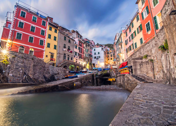 Notte A Riomaggiore, Cinque Terre Italy art