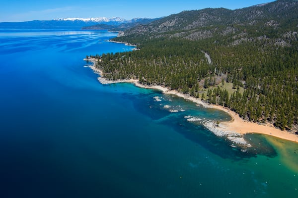Zephyr Cove to Cave Rock, Lake Tahoe Aerial Photography Print