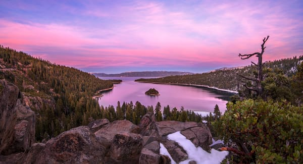 Emerald Bay Winter Sunset Print by Brad Scott