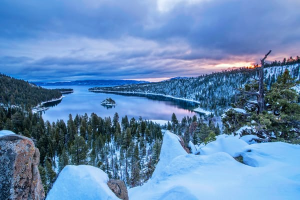 Emerald Bay Winter Sunrise print by Brad Scott