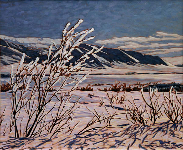 Frosted bush along the Dempster Highway. Art by Sherry Nielsen, available in print on canvas, paper or metal.