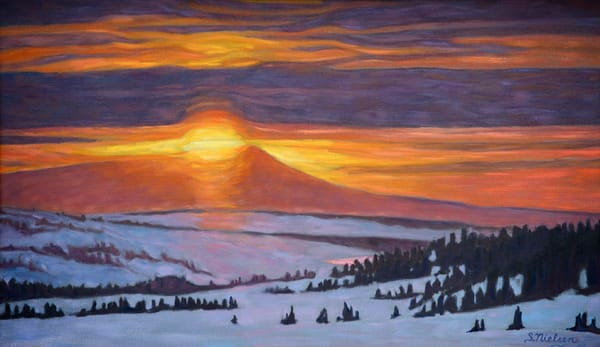 Arctic Sunset Landscape painting by Sherry Nielsen
