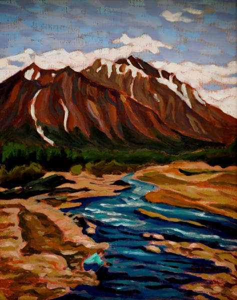 Gold panning in the Yukon. Small oil painting by Sherry Nielsen.