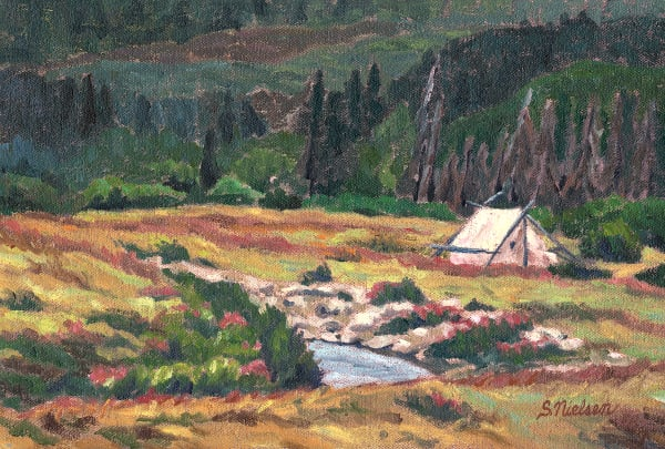Wilderness Campsite - Canadian artist Sherry Nielsen, Yukon painter