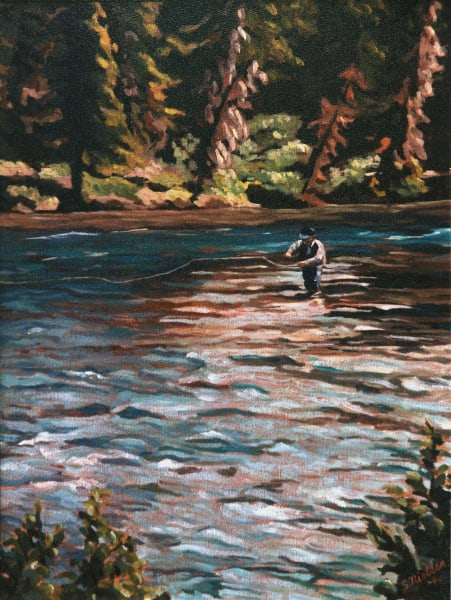 Fly Fishing - Original by Sherry Nielsen - prints on canvas, paper and metal.