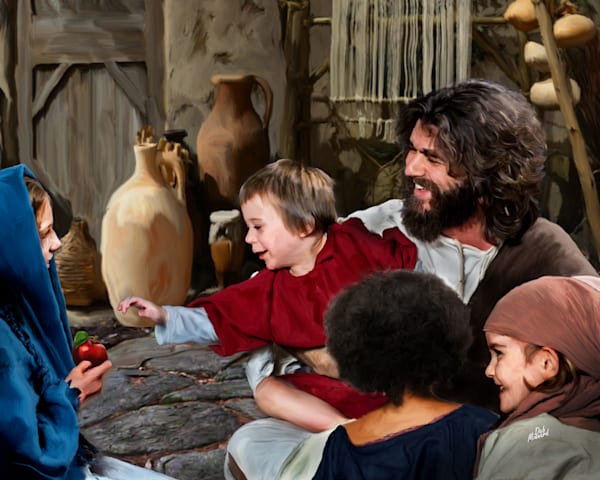 Jesus digital painting with children. digital art
