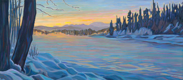 Bulkley River in the winter on a very cold afternoon. Oil painting by Sherry Nielsen