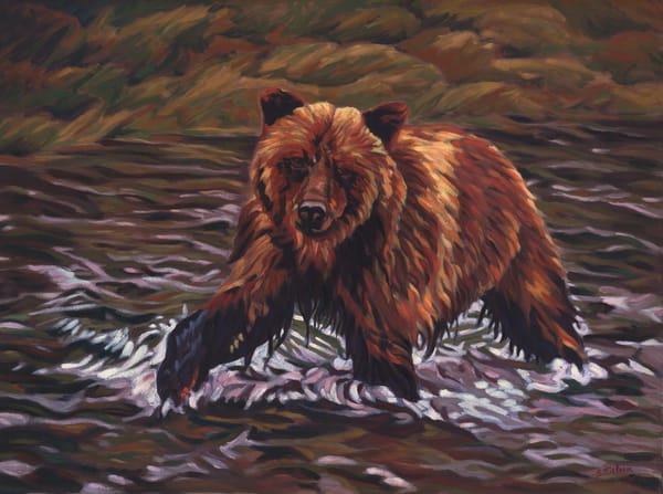 Grizzly - oil painting by Sherry Nielsen