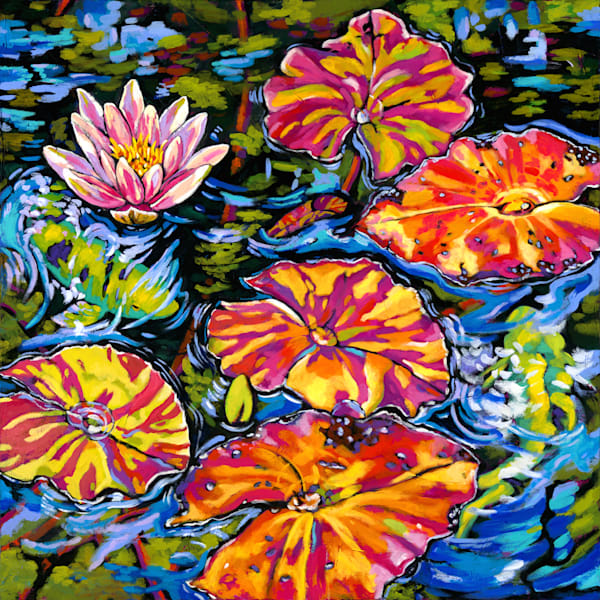 Lilies Dance With Koi | Sally C. Evans Fine Art
