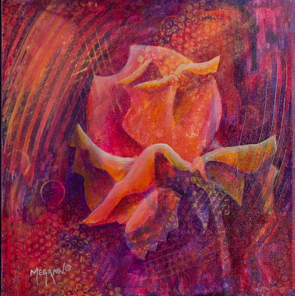Rose IV painting and prints by Pat Megraw