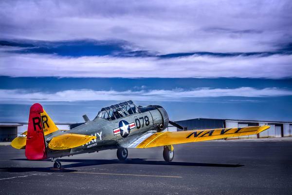 AT-6 Texan Trainer Side View Restored Navy Aircraft fleblanc