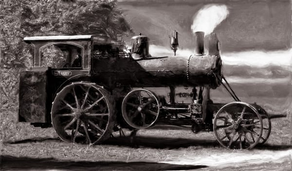 Avery Sawmill Special Steam Powered Tractor Black & White fleblanc